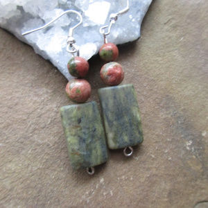 Faceted serpentine & unakite earrings handmade